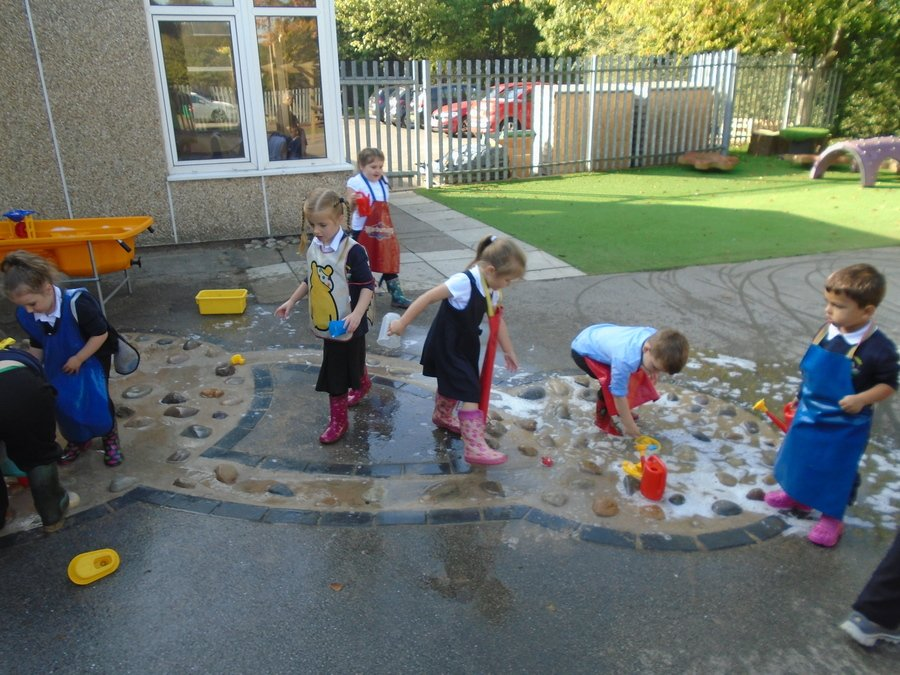 The children have enjoyed exploring the new water area.