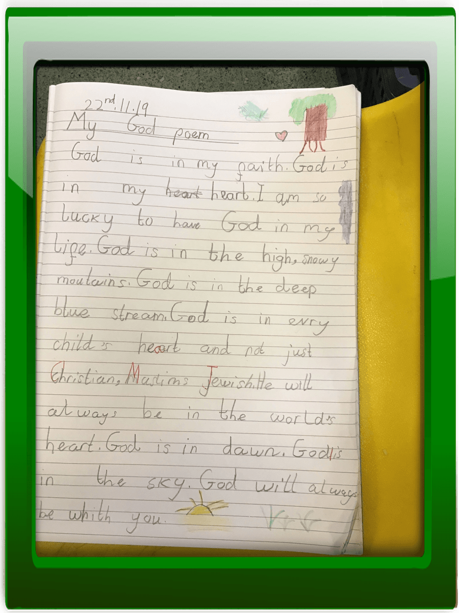 Aaiza's beautiful poem about God.