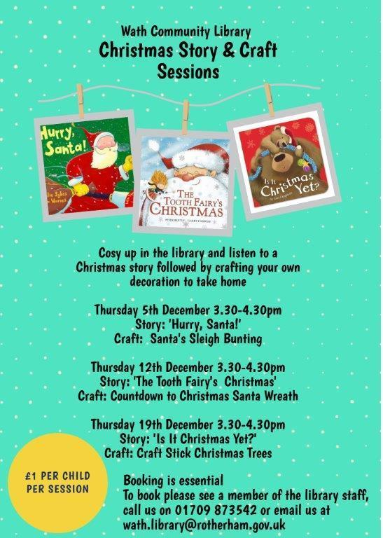 Wath Community Library Christmas Story & Craft Sessions 5, 12 & 19 December
