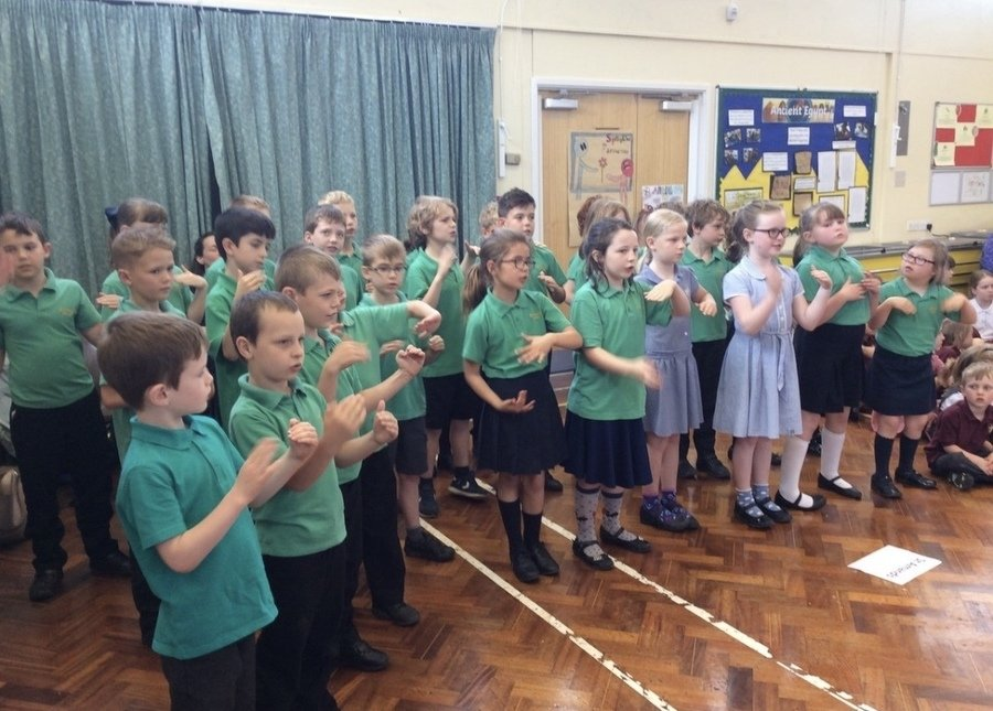 Hedgehogs choir performed at Stockham School alongside other schools in the Springline partnership