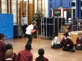 Year 4 musical theatre perfomance of Scrooge