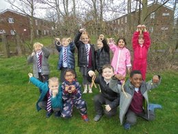 The children loved hanging up their feeders.