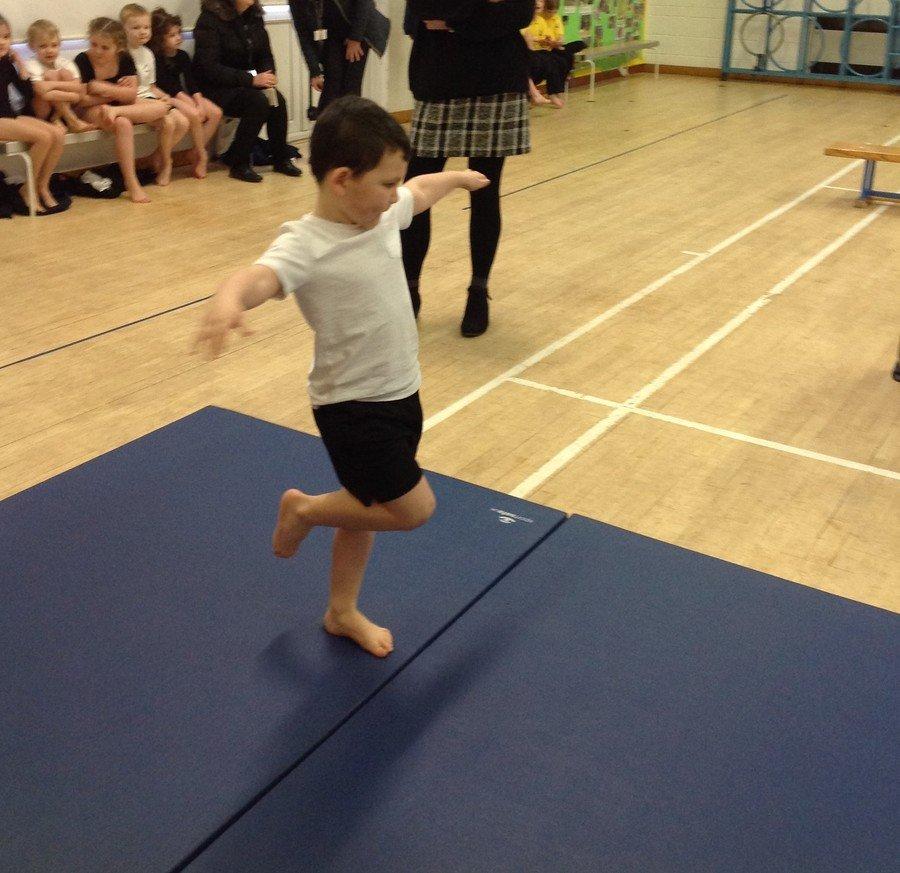 Ollie did a fantastic one leg balance!