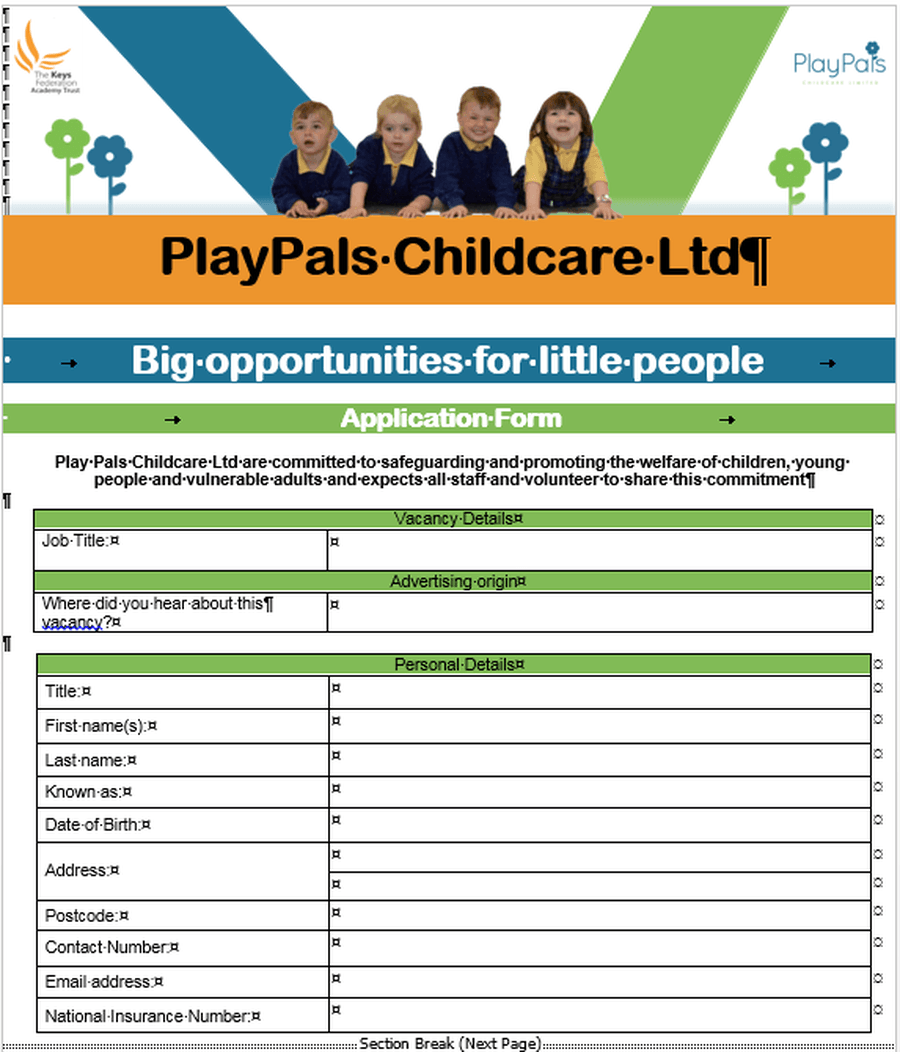 PlayPals Application Form (Word)