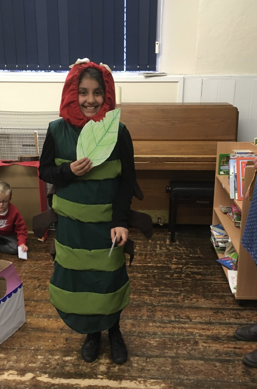 World Book Day Winner The Hungry Caterpillar, Inaaya Y6 who made her own costume and the leaf