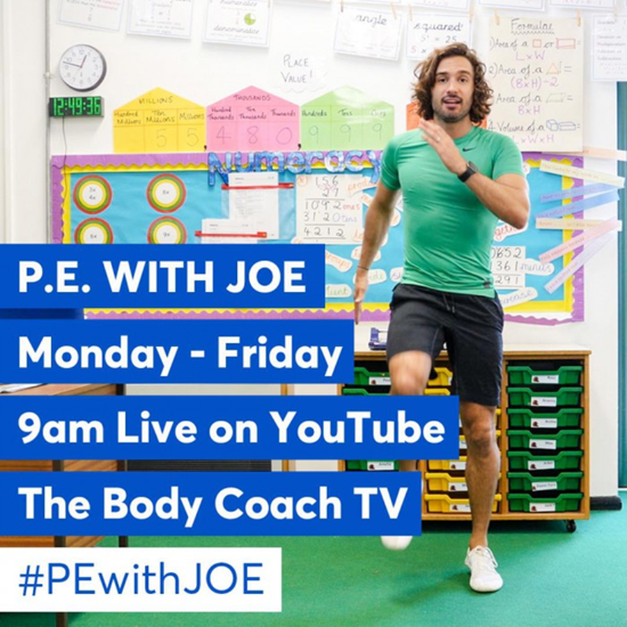 Click here to access Joe Wicks' YouTube channel and join in with #PEwithJoe