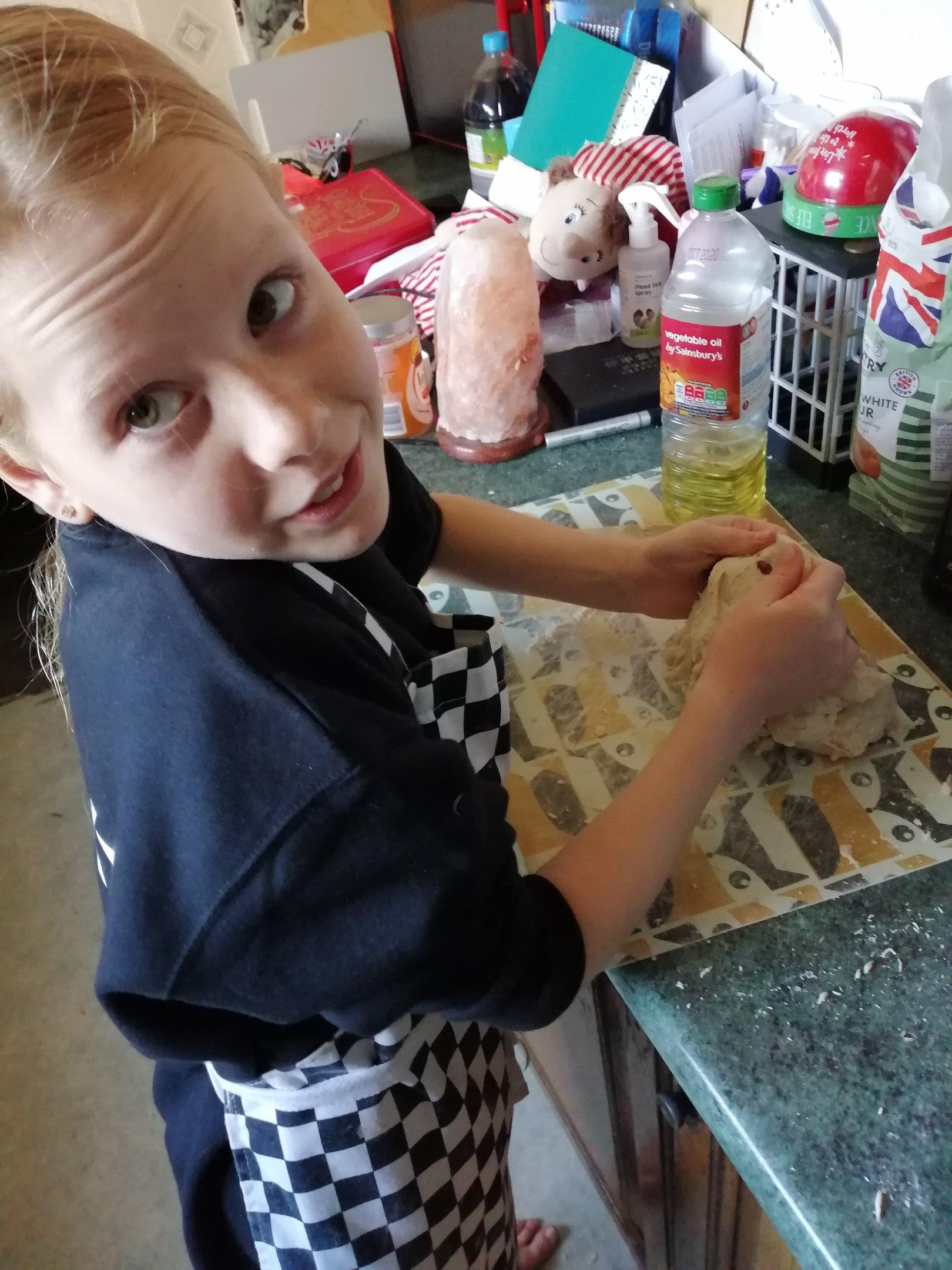 Scarlett making bread