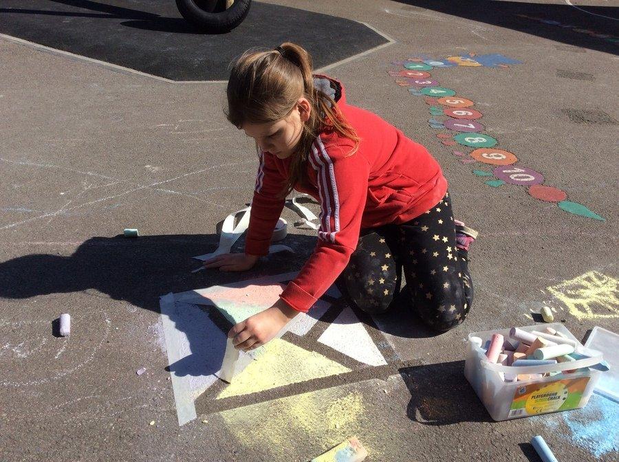 Mondrian using masking tape and chalk