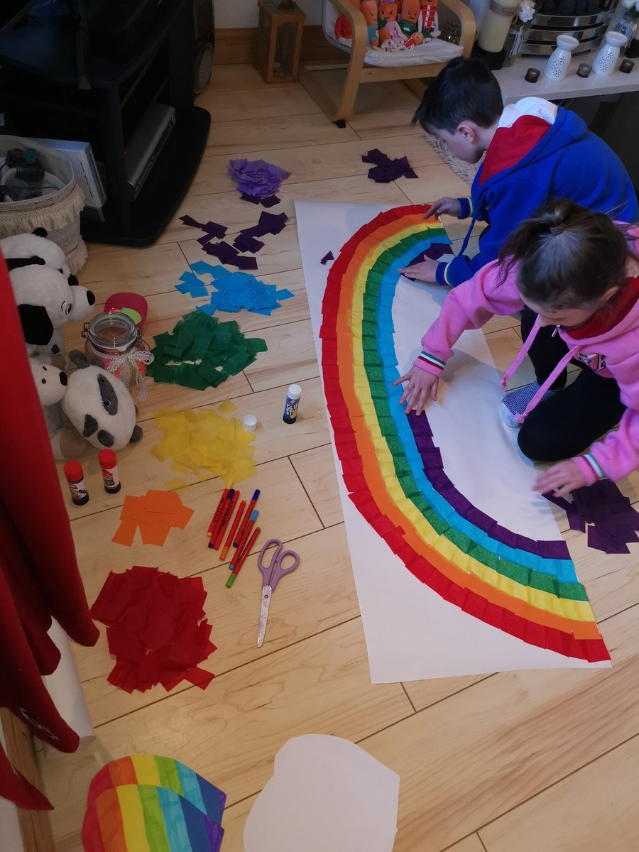 A beautiful rainbow created by Theo and his sister