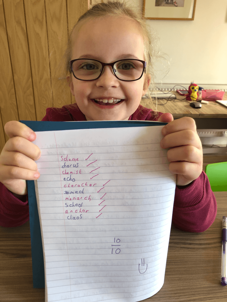 A successful spelling test by Ameila W! 10/10!