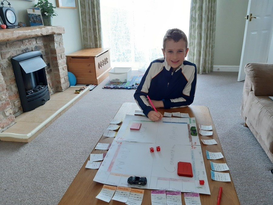 One of the 'Topic' activities from the web site was to build your own board game. Oscar has made a 'Supercar Monopoly' we have all won 1 game each so far!