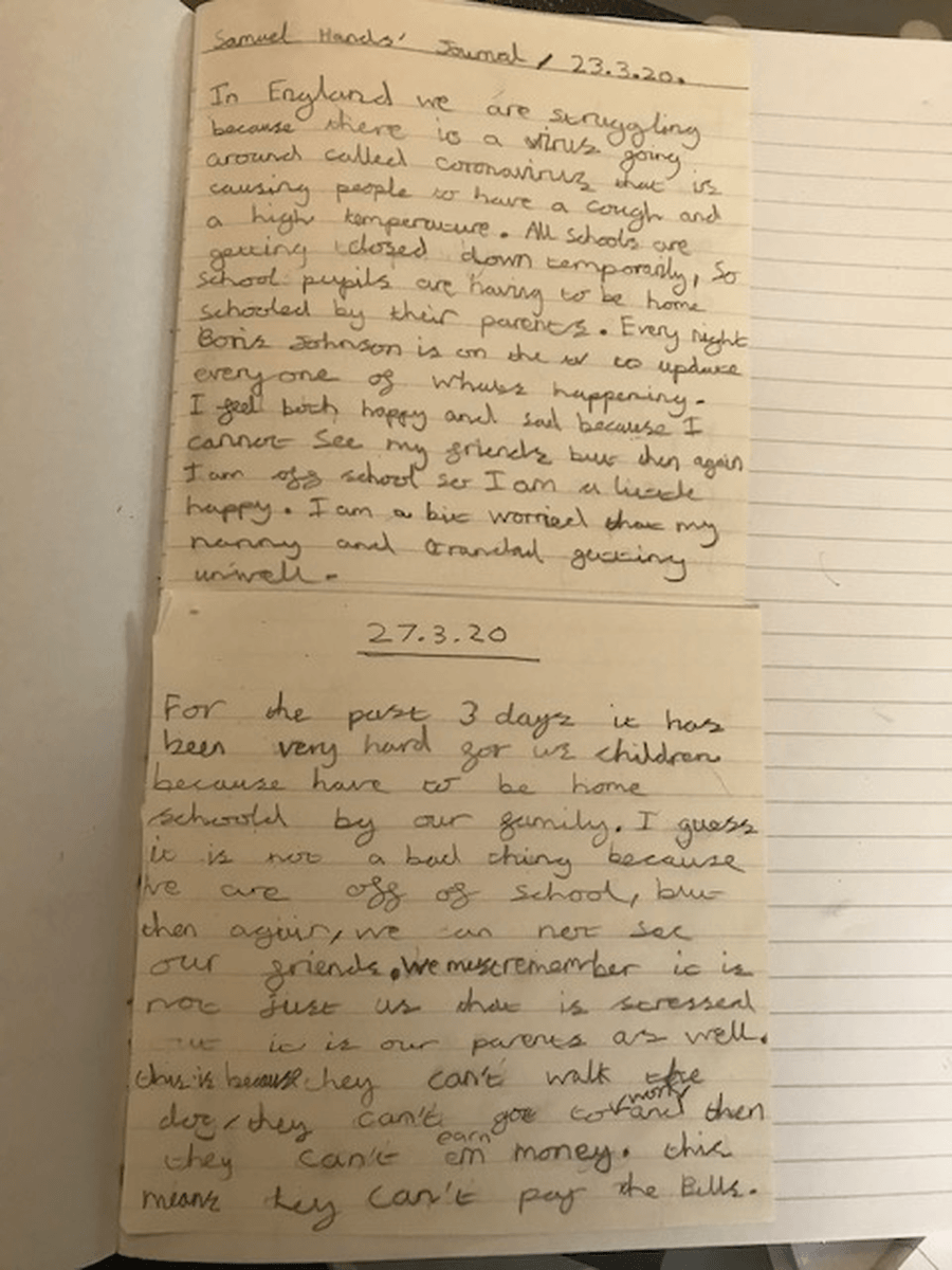 A few extracts from Samuel's journal for us to enjoy.