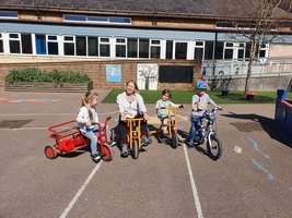 Week 1: Bike Time! Ms Hardman enjoyed joining in.