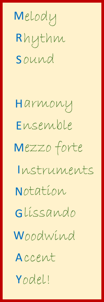 Musical Acrostic Poem Example