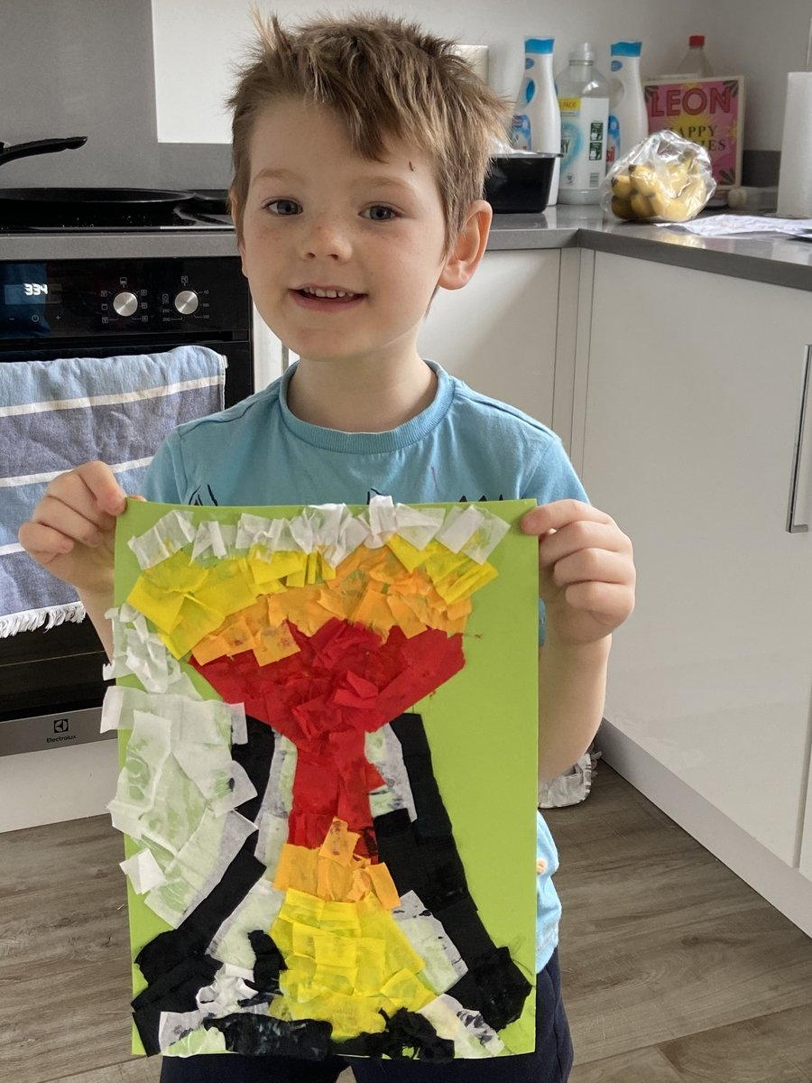 Stanley with his volcano picture collage