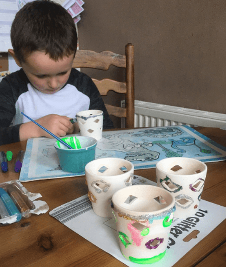 An afternoon of arts and crafts for James, decorating tea light holders. Have you made anything wonderful?