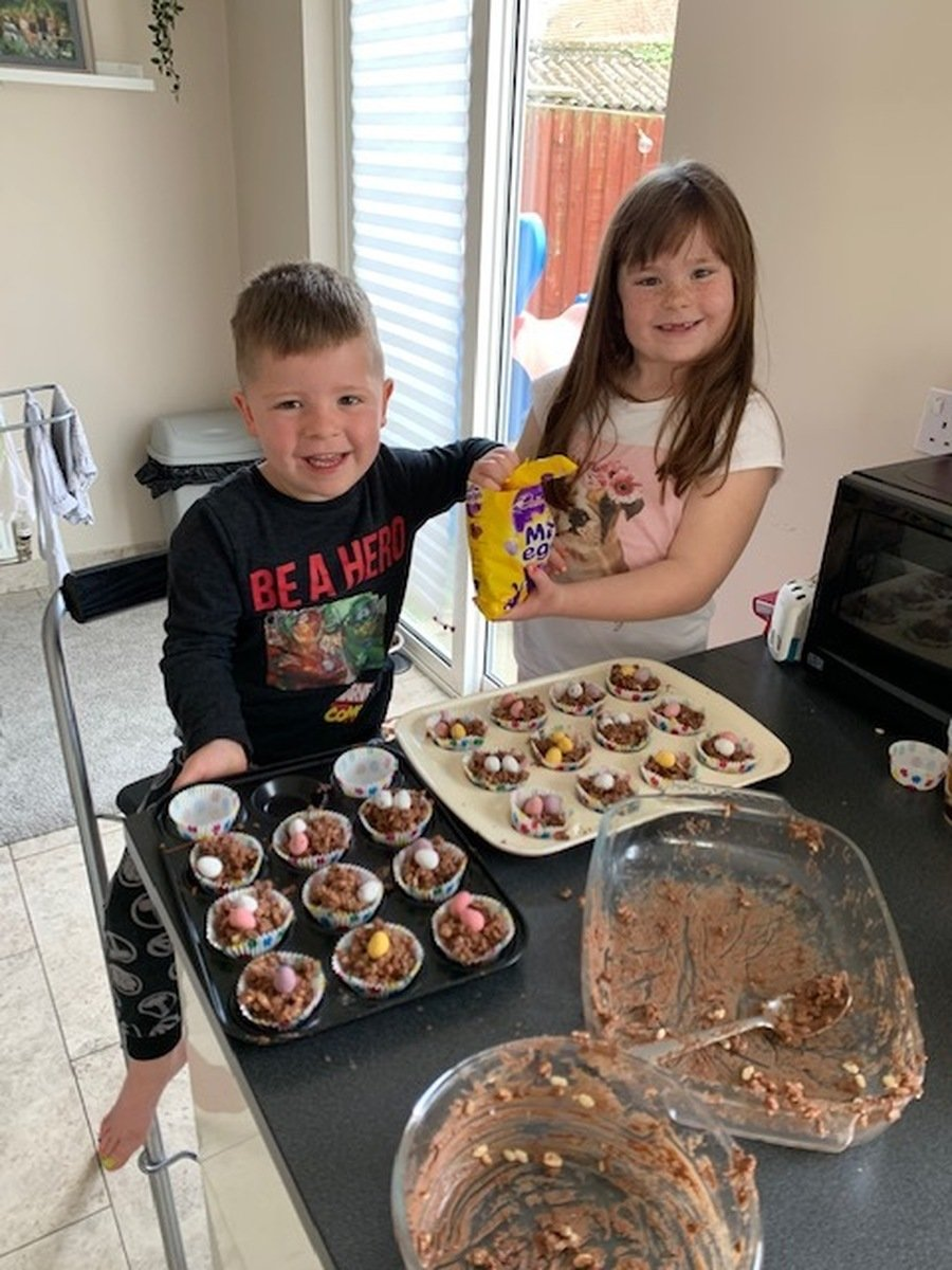 Ruby (Y2) and Caleb (R) making some Easter treats!