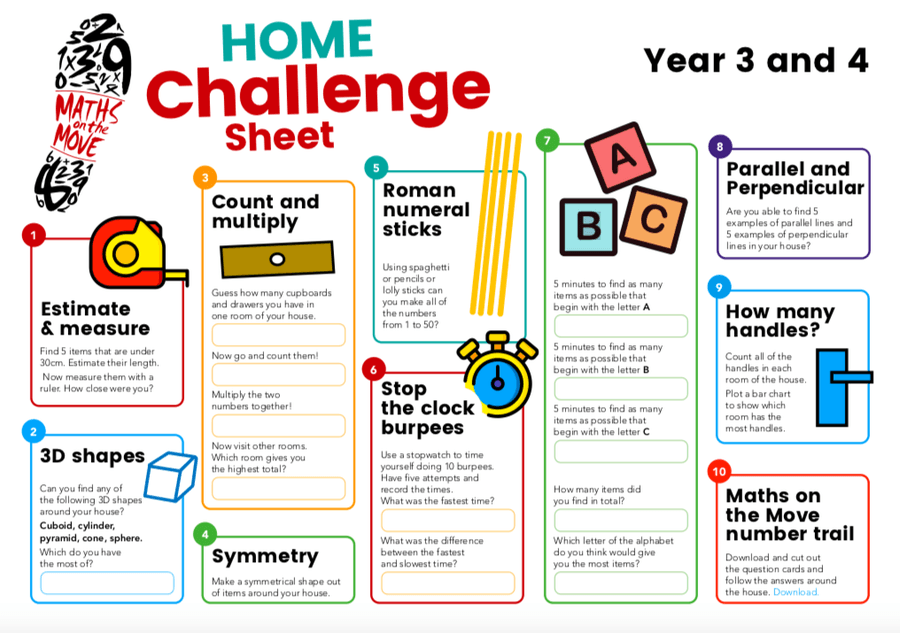 Have a go at this maths challenge and share how you get on with us via email or class dojo!