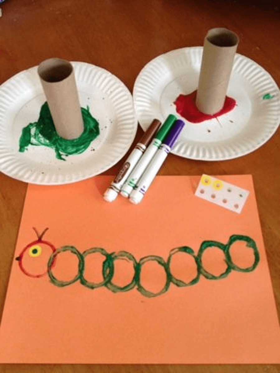 Make a Hungry Caterpillar using paints, pens or crayons. How many circles will you use?