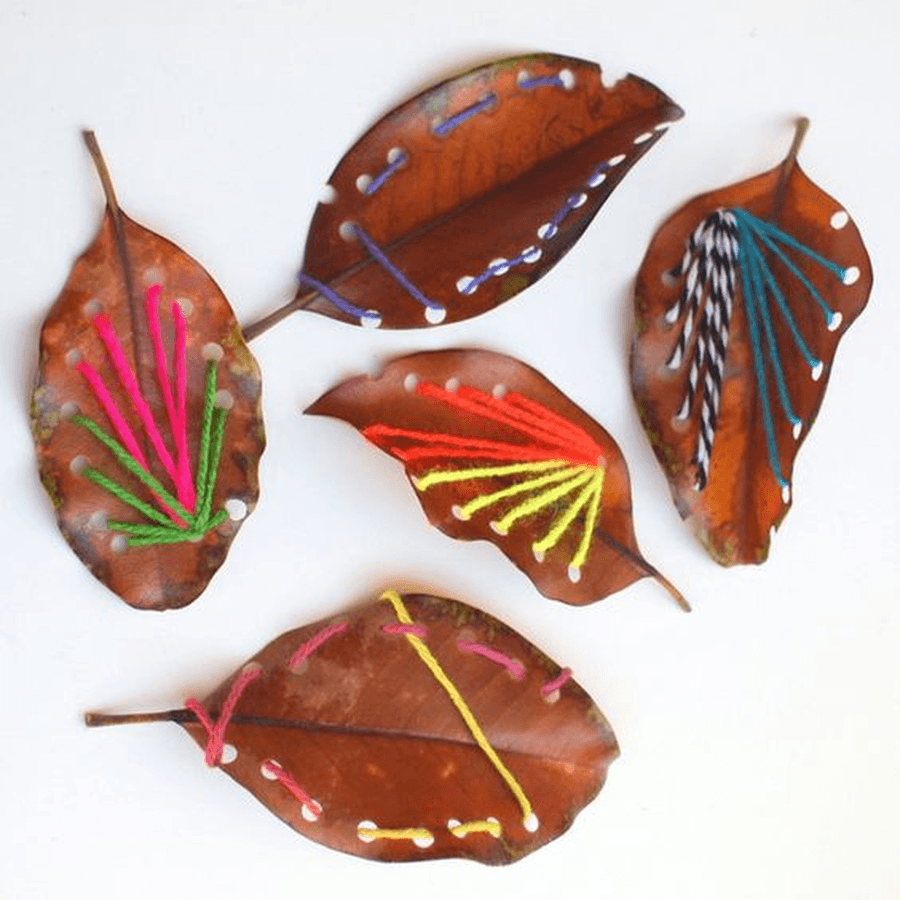 Find some leaves in your garden or on your daily walk and practice weaving in and out of the leaves.