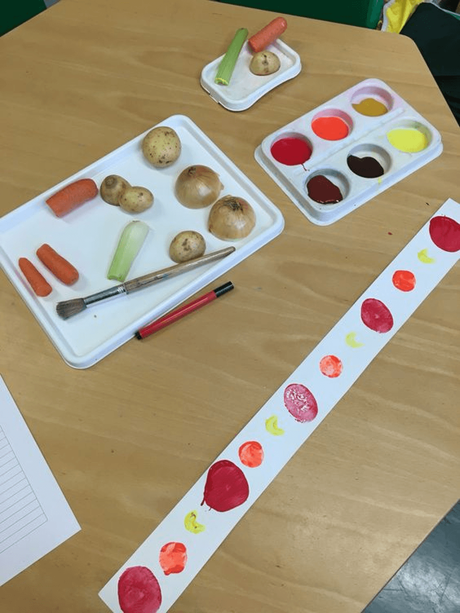 Do some printing with different vegetables. What patterns do they make on the page? Can you make a repeated pattern using the different vegetables?