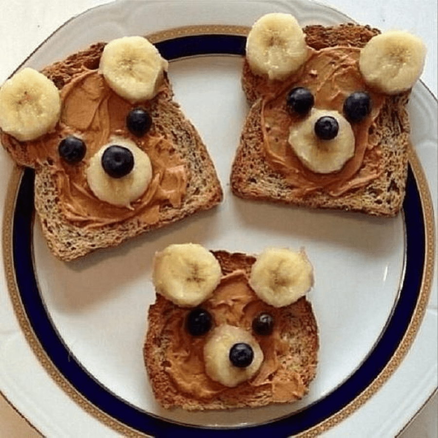 Make some pictures using your favourite foods at snack time.