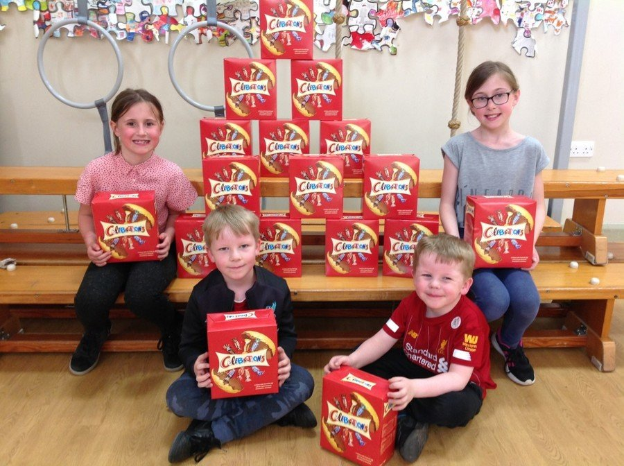 Easter eggs donated to children at Sacred Heart Catholic Primary School, Leigh from Wigan Council (by SDF Manager Lyn Hogan).