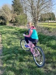 Evie on her bike.