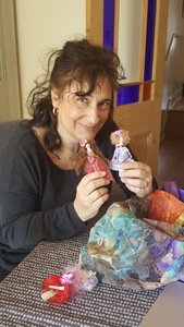 Mrs Brady making peg dolls
