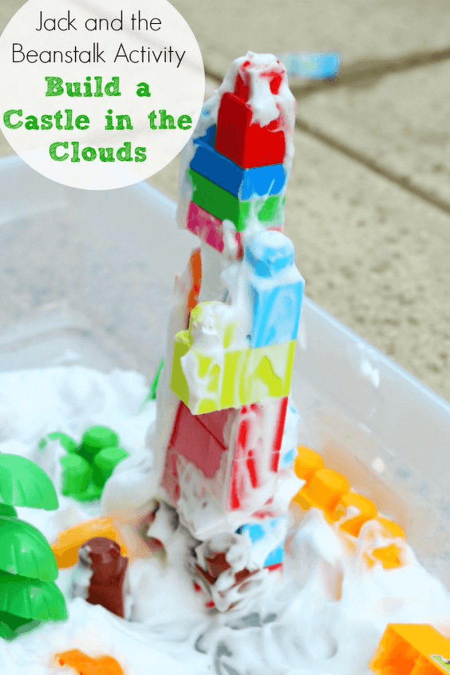 Build a castle for the giant to live in in the sky using some of your bricks. You could add shaving foam or washing up bubbles for the clouds, 'Fee fi fo fum is that someone in nursery I can smell!'.