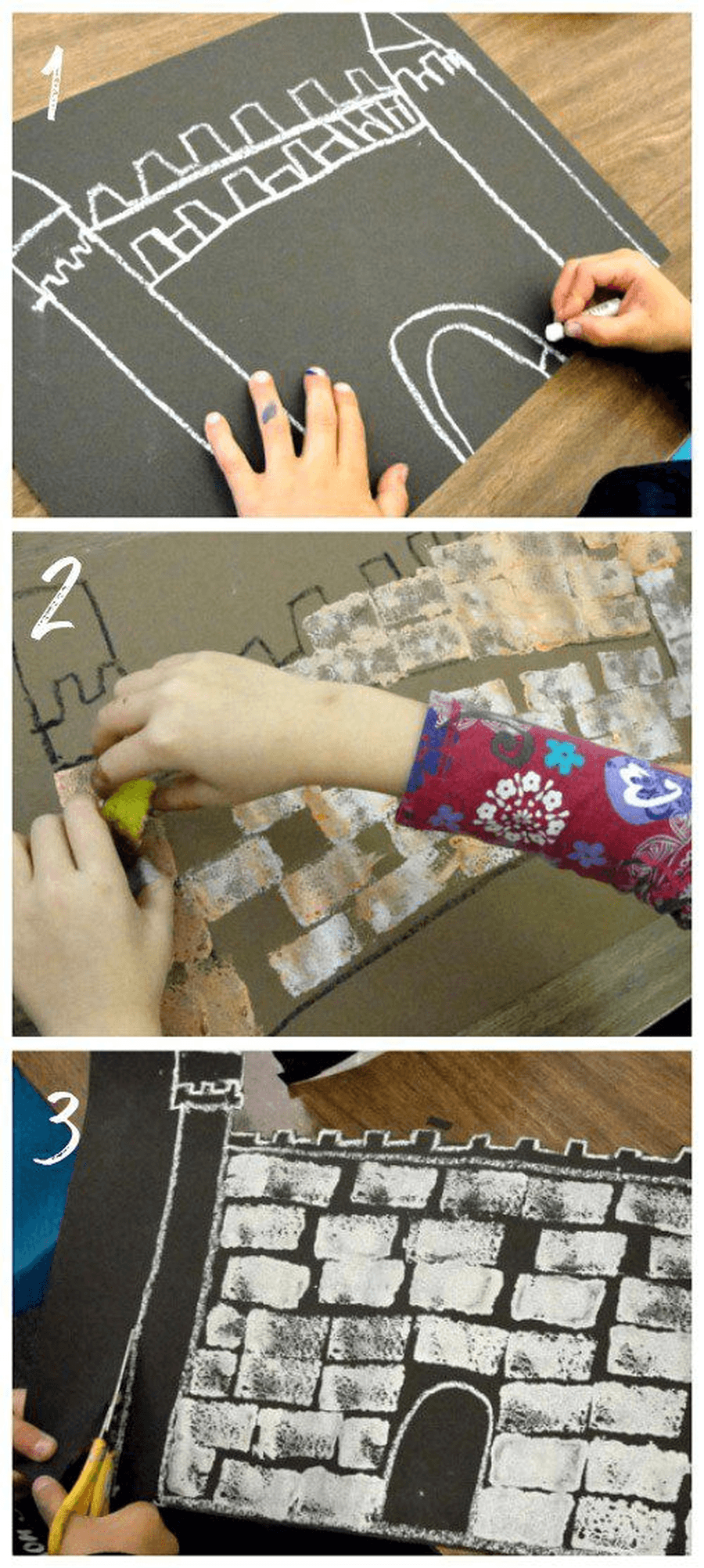 Make a castle picture using chalks, paints or pens for the giant to live in.