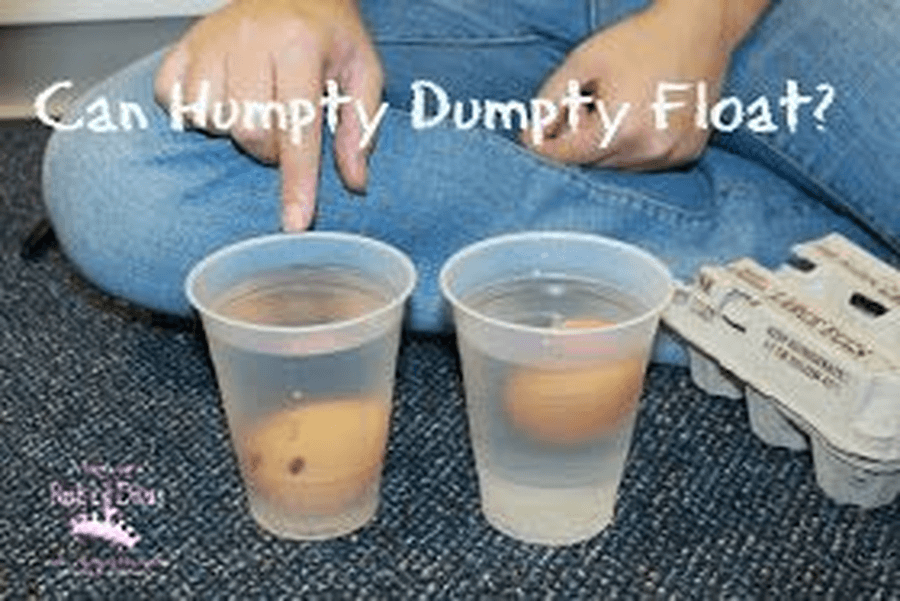 What happens if you put your Humpty Dumpty in water? Does he float or sink? Find other things around your home and experiment if they float or sink in the water.