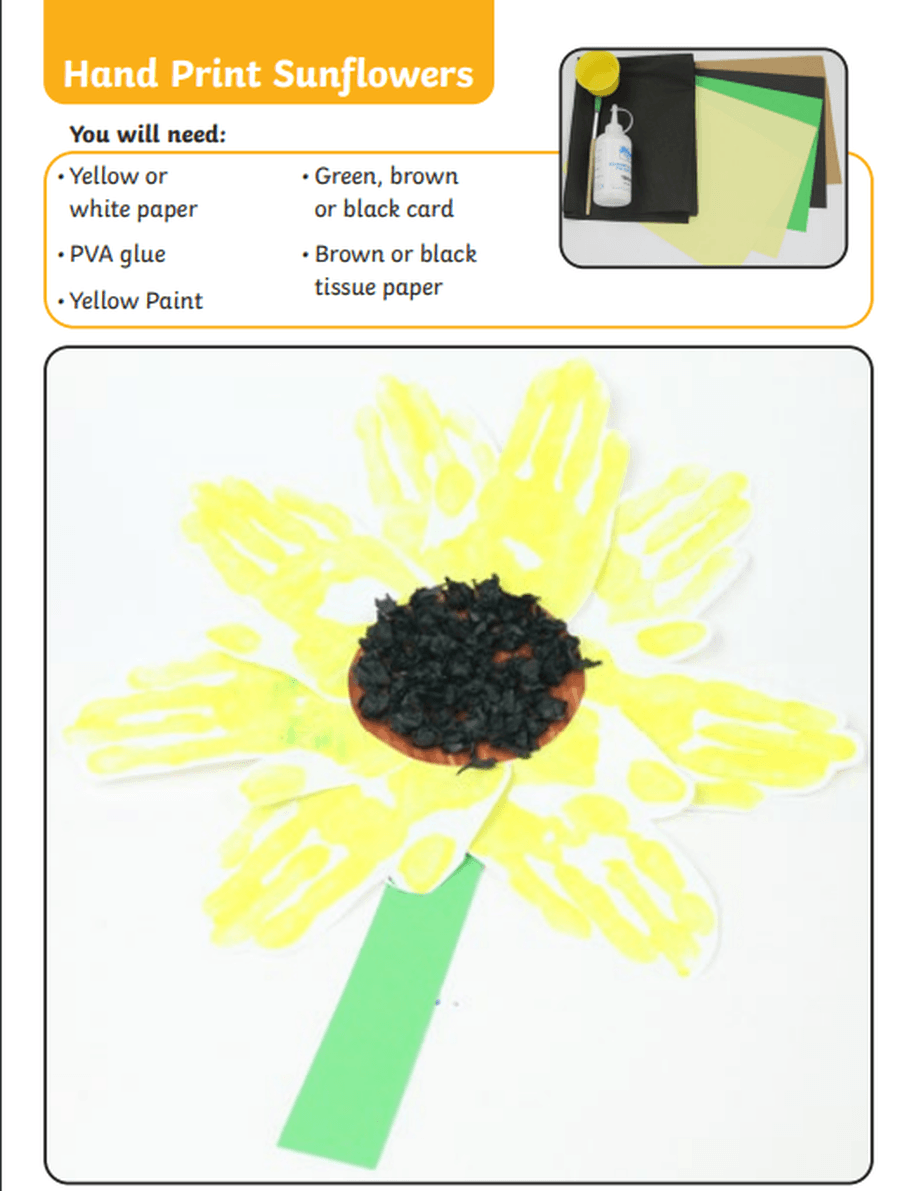 Make a picture of a sunflower using paints, pens or crayons. This sunflower has been made using hand prints for the petals and black paper for the seeds. What could you choose to use to make your sunflower?