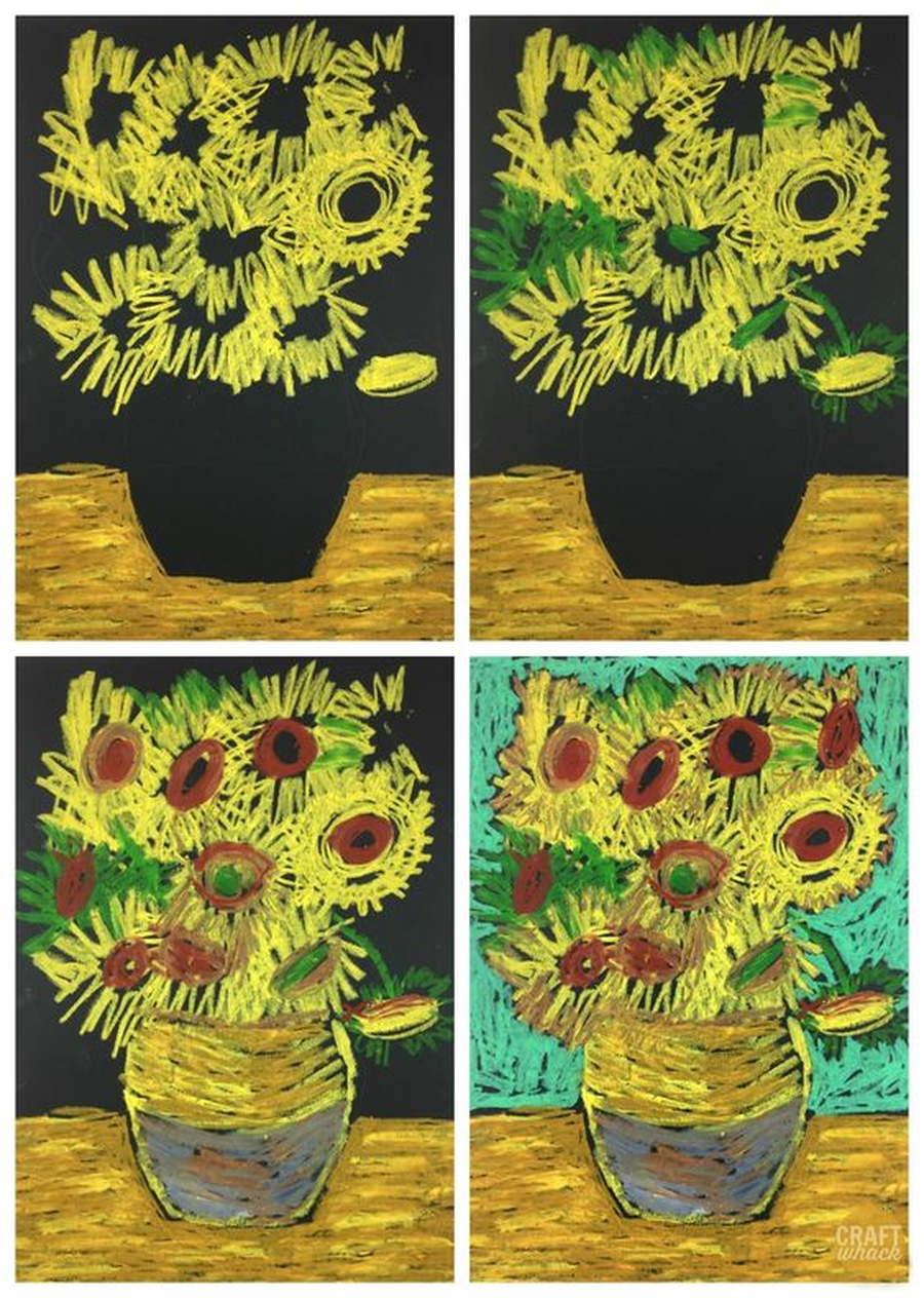 A famous artist painted pictures of sunflowers called Vincent Van Gogh. Can you make some pictures of sunflowers like him? You could draw them on paper or draw them on the floor outside using chalks?