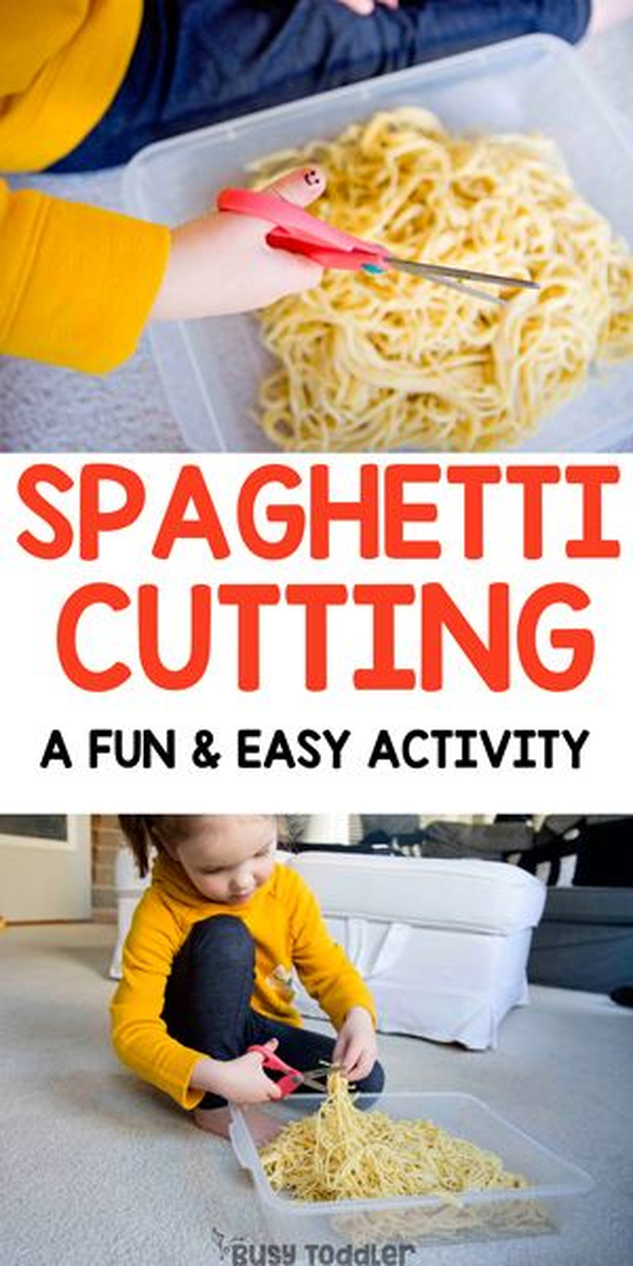 Cook some spaghetti and practice cutting it with some safe scissors.