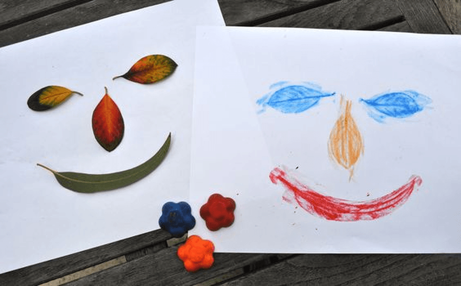 Make some pictures using seeds, flowers or leaves that you have found. These can be stuck on your paper or you can put them underneath and rub a crayon over the top. What can you make? What patterns can you see?