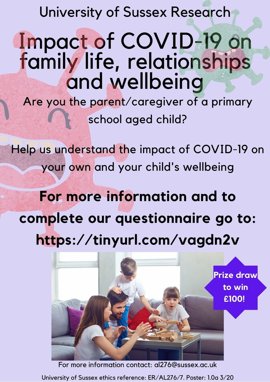 To participate in University of Sussex Research  on the impact of COVID-19 on wellbeing visit https://tinyurl.com/vagdn2v