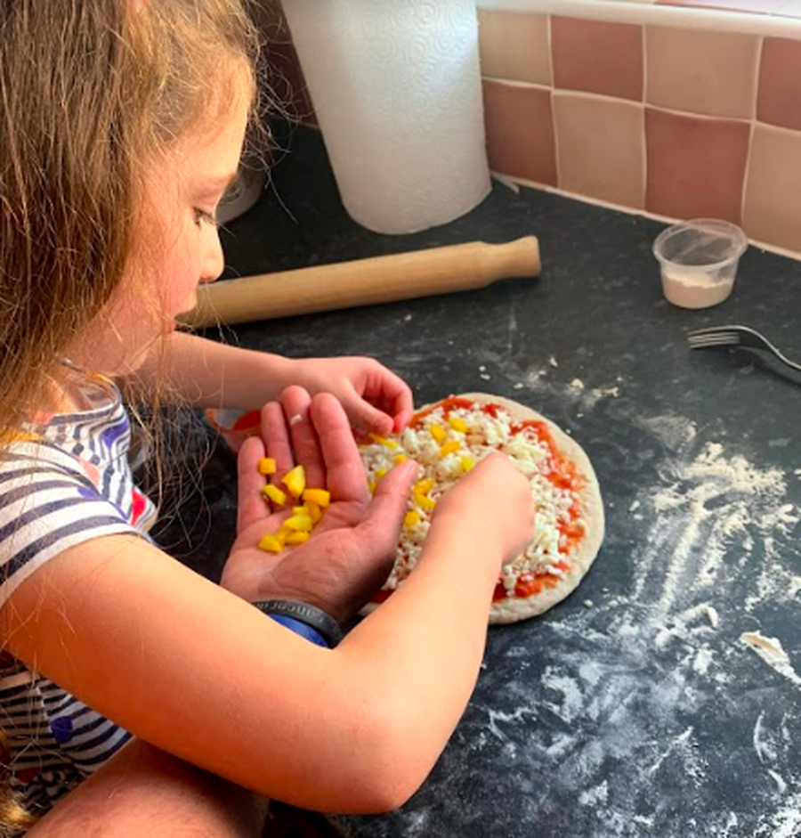Brilliant pizza making skills by Layla!