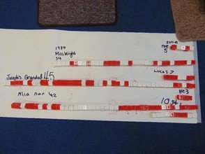 A timeline we create in class. We used cubes to represent each year we have been born.