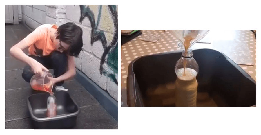 William has been investigating chemical changes by attempting to create 'elephant toothpaste' as well as causing a chemical reaction with sodium bicarbonate and vinegar in his 'volcanic eruption.'  Watch him performing both experiments at https://twitter.com/i/status/1255130922980163584 and https://twitter.com/i/status/1255131636171067393