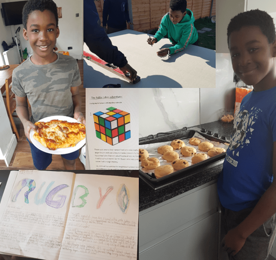 Kyron has been engaging in a range of cross curricular learning.  As well as applying his DT skills to cooking, he has also been creaing a table tennis table with his Dad and brother!  We are really looking forward to reading your story about a Rubix Cube - how original!  Also some fabulous research, driven by your interest in rugby.  Keep up the fabulous learning!