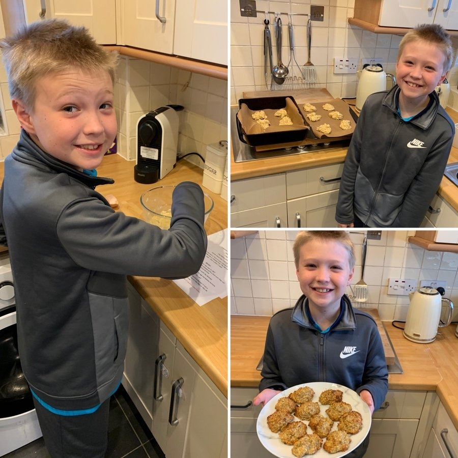 Baking the healthy oat biscuits with the addition of chopped apple. Yum!!!