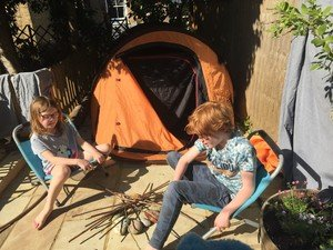 Ollie and Isla' tent in their garden