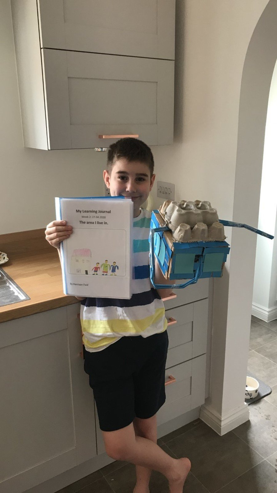 Harrison enjoying the learning journals.
