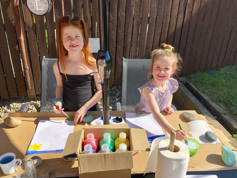 Olivia - Reception. Outdoor painting with Holly.