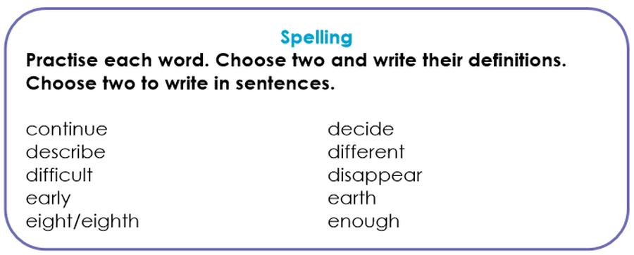 Please learn these spellings this week :)