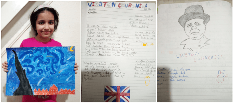 Romesa has been demonstrating her artistic talents by creating her interpretation of 'Starry Night' by Vincent Van Gough.  She has also created a biography on Winston Churchill, complete with a life-like sketch of our former leader.  Keep up the great work!