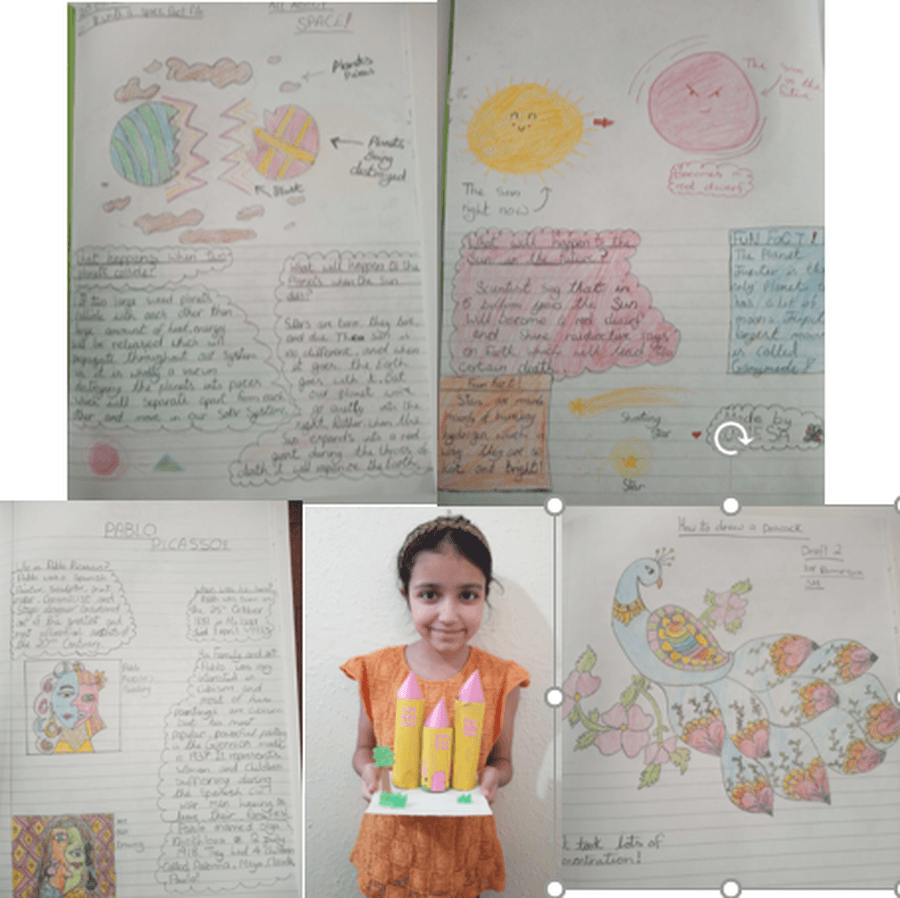 Romesa has conducted her own research to complete a report about space.  She has also investigated the life of Pablo Picasso, as well as creating her own artwork, using different skills and media.