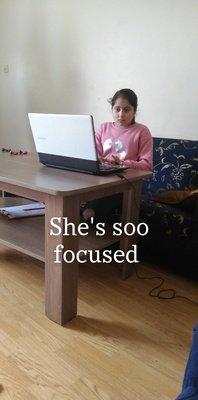 Alisha working hard