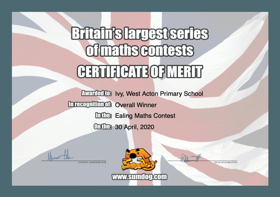 Ealing Maths Contest - April